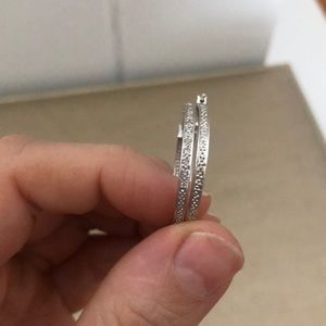 Jewelry - SALE!!!!! 14k white gold pave diamond hoops